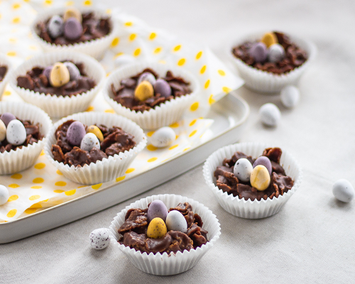 Peanut Butter Chocolate Cornflake Nests